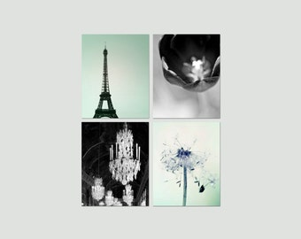 SALE, Paris Decor, Black and White Photography, Mint, Black, Eiffel Tower, Flower Photos, Set of 4 Prints