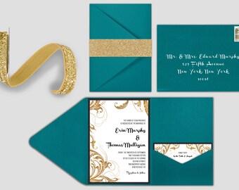 Wedding Invitation - Glitter Swirls - Deposit