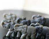 Carved Stone Elephant Bead - Matte Black Obsidian Elephant - Wildlife Beads - (1 bead) 25x35mm