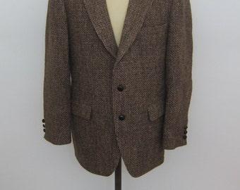 Vintage HARRIS TWEED Brown Sports Coat Blazer Scottish Size 44
