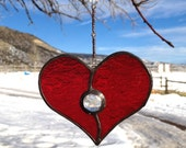 Custum Order - Ruby Red Stained Glass Heart Suncatcher with Blue Glass Gem and Beaded Strand ~ Home Decor