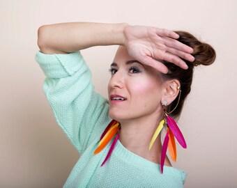 Feather  Ear Cuff Earrings, Star Stud Pink Feather Statement Earrings