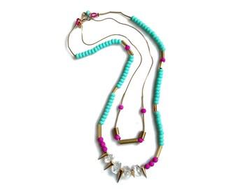 Layering Quartz Necklace, Long Statement necklace, Spike Necklace, Long Beaded Necklace