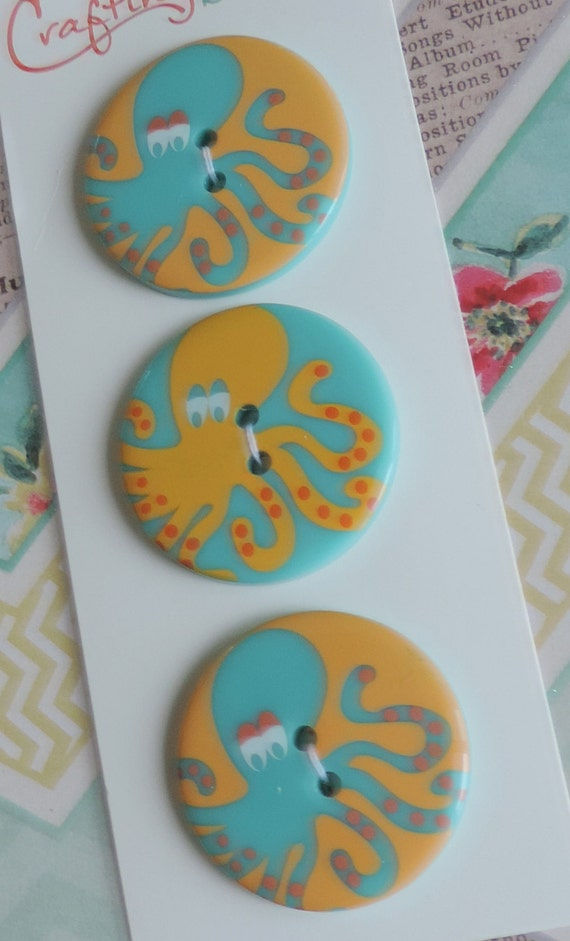 Octopus Buttons Carded Set of 3 Crafting with Buttons Collection Sew On