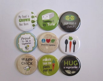 set of 9 vegetarian mini 1 inch or 1.25 inch button magnets you choose the size