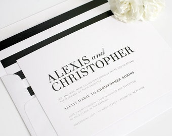 Contemporary Wedding Invitation, Bold, Black, White, Romantic, High Fashion Wedding Invitation - Urban Glamour Design - Sample Set