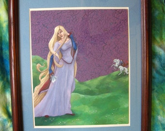 RAPUNZEL Princess Painting - FRAMED Fairy Tale Acrylic Painting, Unicorn, 14 by 16 Inches, Beautiful OOAK Original Artwork