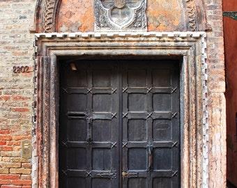 Fine Art photography, old wooden brown door, Venice, Italy, brick, arch, vintage, details, 8x12