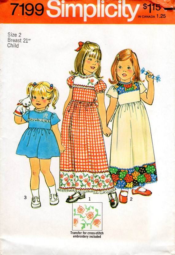 1970s Girls Dress With Puff Sleeves Vintage Pattern