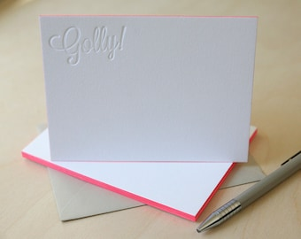 Letterpress Edge Painted Notecards - Golly Notes