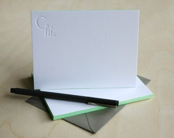Letterpress Edge Painted Stationery - Hi Notes