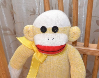 Traditional Yellow Sock Monkey Doll