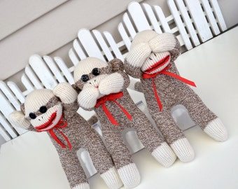 Three Wise Sock Monkey Dolls, Hear No Evil, Speak No Evil, See No Evil