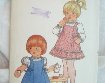 Butterick 3527 Toddlers Dress & Pinafore Vintage Sewing Pattern Size 3