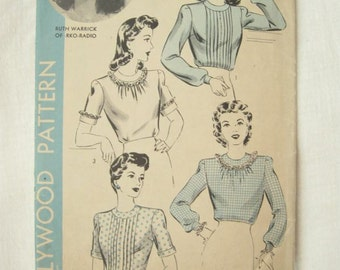 Hollywood Pattern 1165 Ruth Warrick Pleated Blouse Sewing Pattern Bust 32