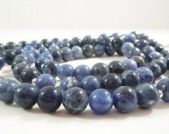 Long Blue Sodalite Necklace Long Blue Gemstone Necklace Long Blue Beaded Necklace Long Silver Blue Bead Necklace Long Sodalite Strand