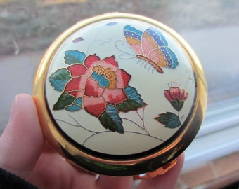 Vintage Cloisonne Butterfly Flower Compact Mirror