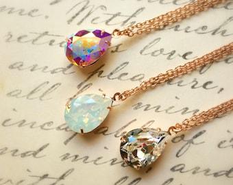 Rose Gold Necklace, Swarovski Rhinestone Necklace, Gift For Mom, Mom Gifts, Rose Gold, One (1) Necklace, AB, Clear, Opal Necklace