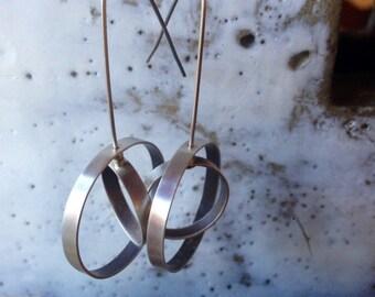 Double Orbit Hoop Earrings, medium, sterling silver