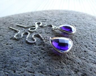 Sterling Silver Purple Amethyst Gemstone Threader Earrings Triangle Ear Threads