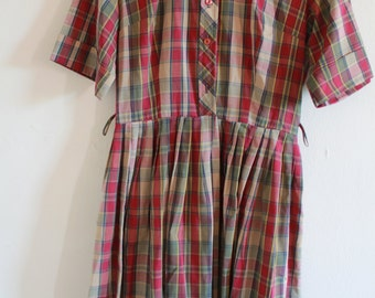 1950s Plaid Pleated Collar Day Dress