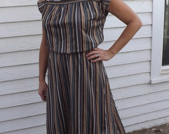 Striped Dress 70s Vintage Retro Casual 1970s Sheer Brown Earth Colors In Roads M L