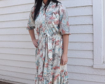 Floral Dress Vintage 70s 1970s Casual Country Hippie S M