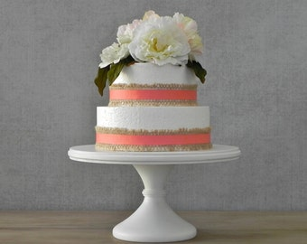 "16"" Wedding Cake Stand Cupcake Pedestal White Cake Stand Rustic Wooden Wedding Topper E.Isabella Designs Featured In Martha Stewart Weddings"