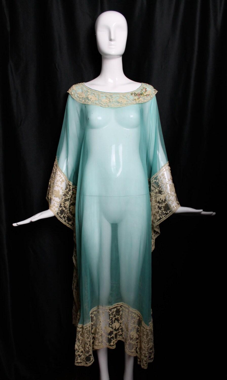 1920s vintage silk chiffon lingerie caftan boardwalk empire