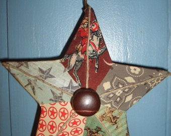 Western Cowboy Paper Mache Star Ornament