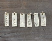 Add a Personalized Rectangle, initial charm, bar charm, letter charm, hand stamped initial charm, rectangle charm