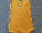 Vintage 1970's Yellow Children's Girl's Size 2T 3T Stretch Nylon Swim Suit Play Suit Leotard Gymnastics Halloween Costume with White Buttons