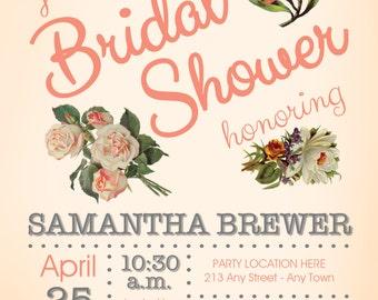 Country Chic Peach Blossom Bridal Shower Invitation