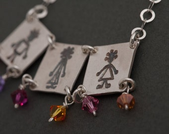 Personalized Family Necklace. Mother's Jewelry. Girl and Boy Charms Necklace.Customized Initial engraved. Anniversary.Moms gift.Mothers day