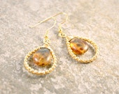 CLEARANCE Delicate Gold and Amber Long Tear Drop Earrings Wire Wrapped