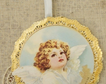 Vintage 80s Shabby Chic Victorian Angel Ornament