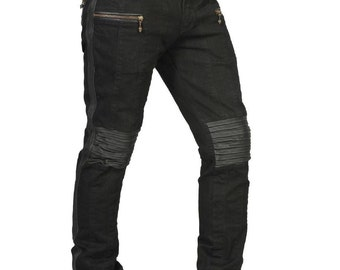 ICON JEANS Mens Black Jeans with Leather Stripes Monkey