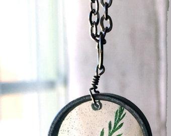 Green Fern Leaf Necklace, Resin Flower Necklace, Real Pressed Flower Jewelry, Flower Necklace