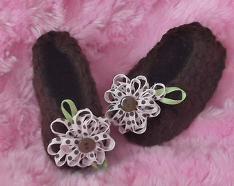 Perfect for FALL & Winter....Dark Brown with Ribbon Floral...Ballet Flat...NEWBORN Size Only...Baby Girl....Perfect Gift....Ready to Ship