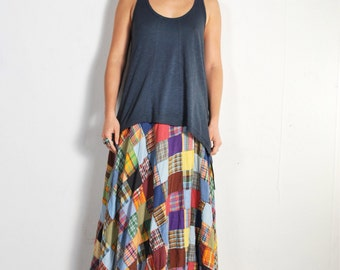 1970s Biba Patchwork Wrap Maxi Skirt // sz XS S
