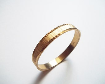 Monet Gold Tone Bangle / Gold Etched Bracelet / Vintage Bangle Bracelet