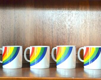vintage 1980s ceramic rainbow mugs