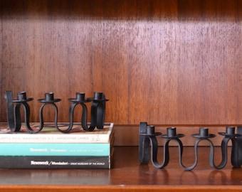 vintage danish modern cast iron swedish candle stick holders
