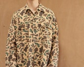 CAMO camouflage rip stop 80s 90s MILITARY grunge button up jacket