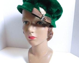 Vintage Hat Fuzzy Green Angora Wool 50s Hat with Rhinestones - on sale