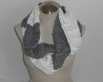 crochet scarf grey and white blocked handmade infinity -handmade crochet grey and white  mobius - scarf handmade grey infinity