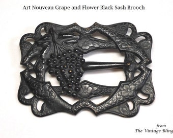 Grape & Flower Sash Mourning Brooch in Black Japanned Metal Art Nouveau Motif and C-Clasp- Antique Circa 1900 to 1909 Costume Jewelry