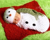 Newborn Snowman hat and sack SALE