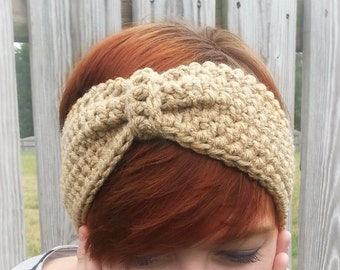 Knot Bow Ear Warmer Crochet Headband