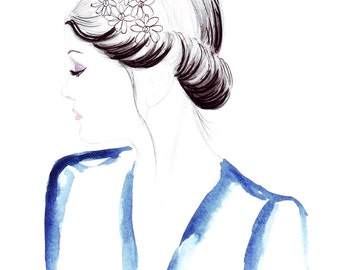 Watercolour fashion illustration Titled Oh Darling